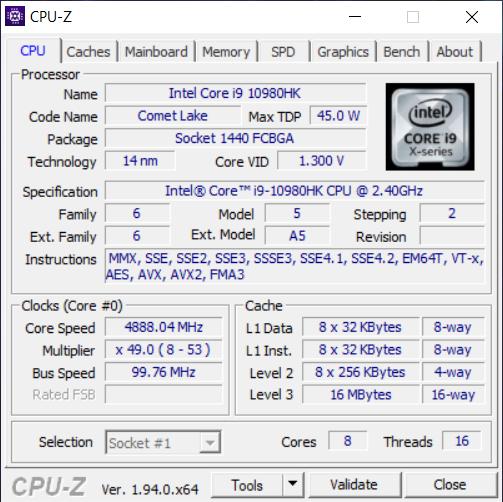 Información del procesador de CPU-Z