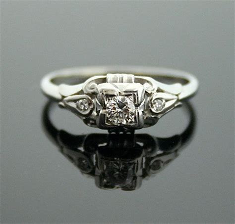 1930s Engagement Ring   White Gold and Diamond Antique
