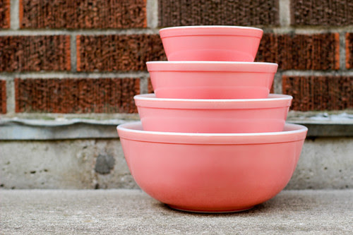 Pink Pyrex Bowl Set by Jeni Baker