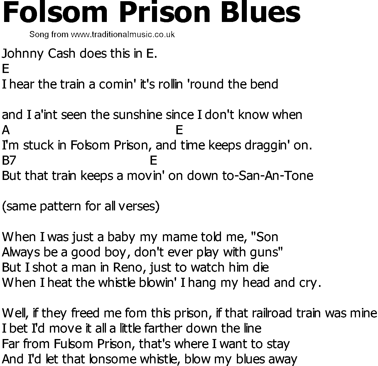 Folsom Prison Blues Chords 2015confession