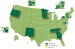 Thumbnail of The Foodborne Diseases Active Surveillance Network Surveillance Area, United States, 2004–present.