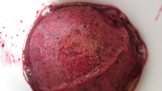frozen homemade blueberry/strawberry sorbet