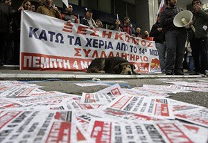 Workers in Greece are demonstrating against the economic crisis inside the country. The unions are saying that the capitalists should pay for the crisis they created and not the workers. by Pan-African News Wire File Photos