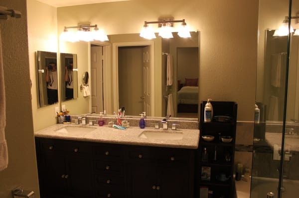 Master bath with lighting, glass and vanity install by Popescu ...