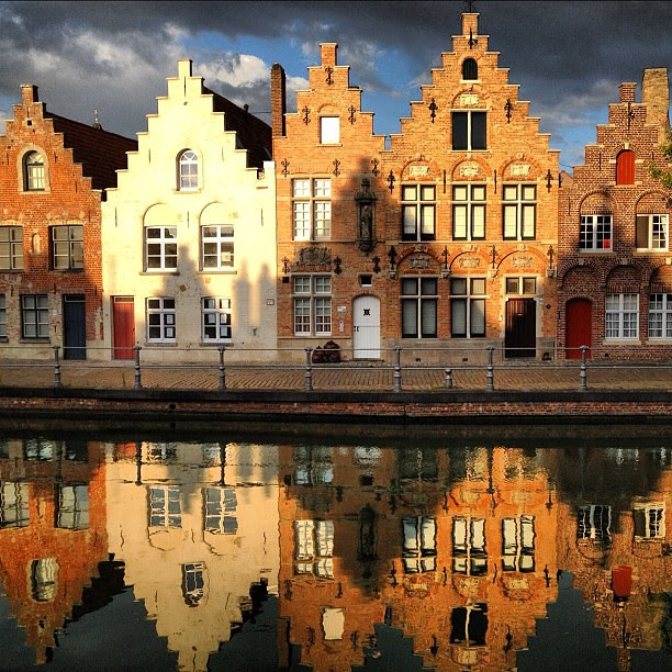 Reflections and Shadows of Brugge's Stepped Gable Architecture