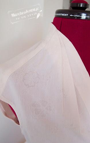 marchewkowa, blog, szycie, krawiectwo, moda, retro, vintage, wykrój, Burda 9/2011, #118, bluzka, 50s, haftowany batyst bawełniany, zatrzaski