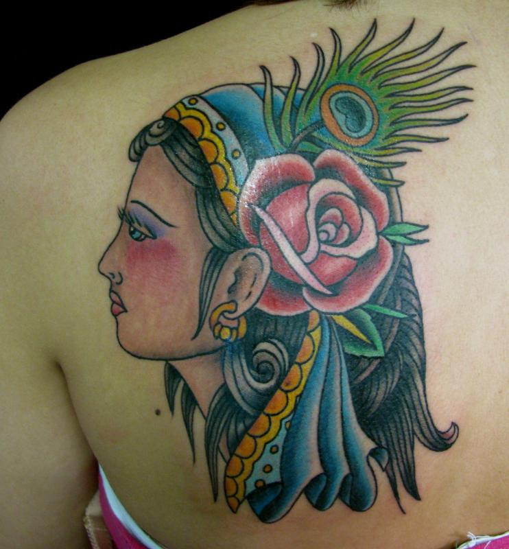 Gypsy Head With Peacock Feather And Rose Flower Tattoo