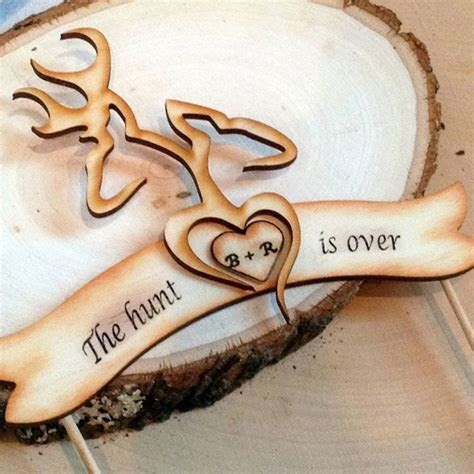 You had me at Camo   ?The Hunt is Over? Wedding Cake Topper
