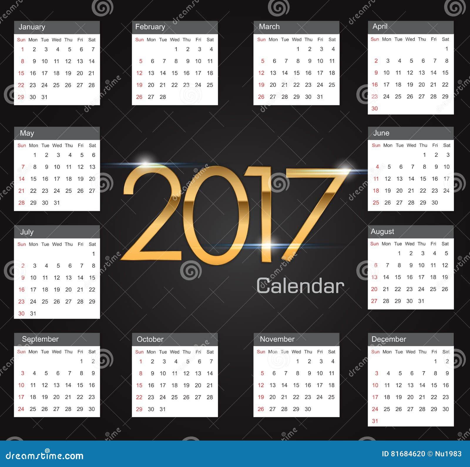 Gold 2017 Luxury Editable Calendar Stock Vector - Image: 81684620