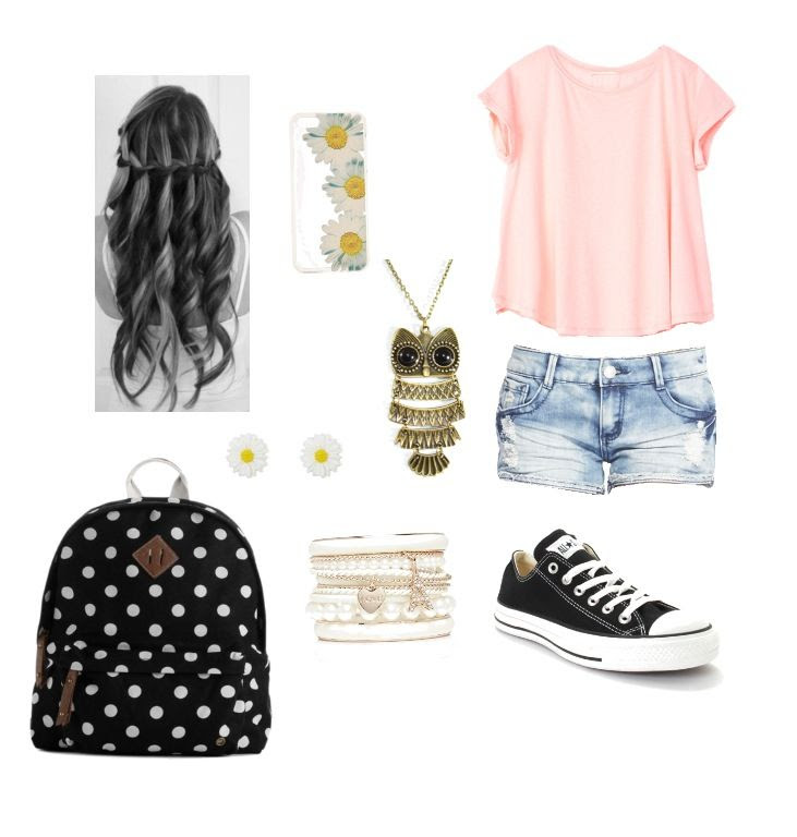 Cute and simple outfit for teens on the first day of school