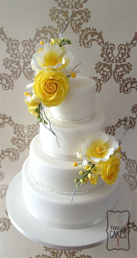 Yellow Floral Wedding Cake   CakeCentral.com