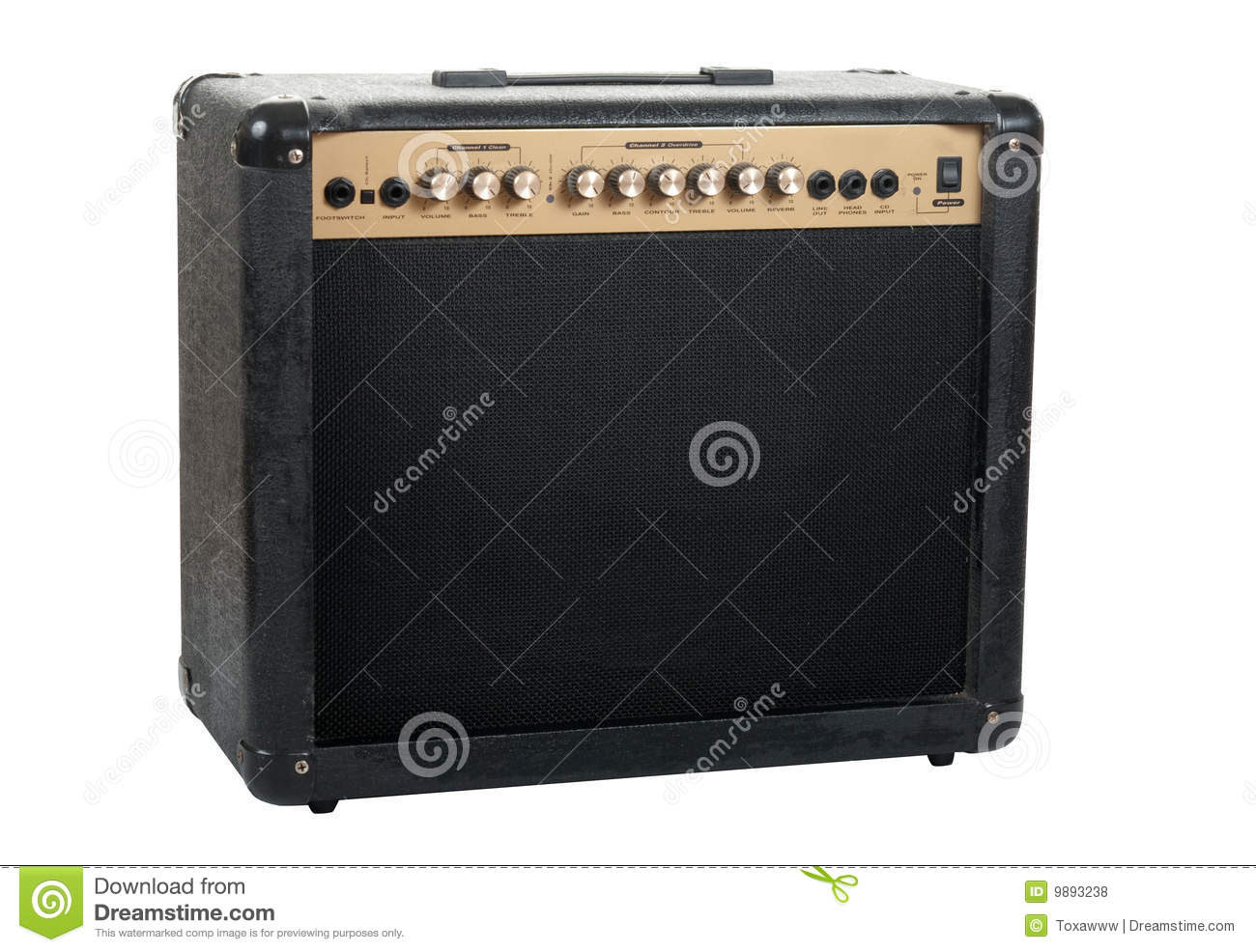 Handheld guitar amplifier isolated over white background in studio