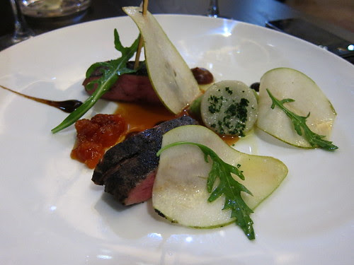 """Course 6 - Breast of duck rolled in liquorice charcoal – """"peas & tamarind"""""""