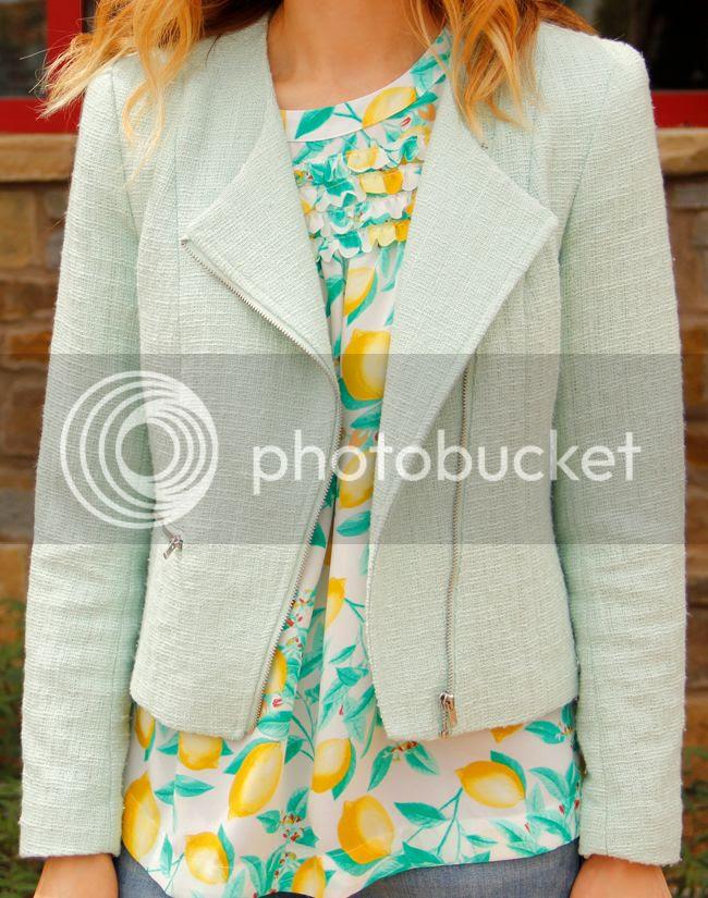 H&M tweed blazer, Elle lemon print ruffle crepe top