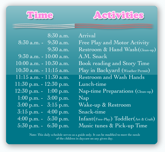 1000+ images about {Daycare ~ Calendar ~ Schedule} on Pinterest ...