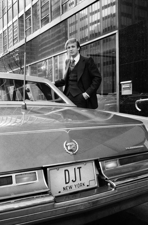 "Donald Trump ""getting into his Cadillac to begin a day of real estate deals,"" was the original caption of this 1976 photograph."