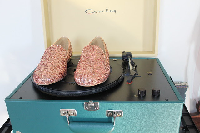 New shoes: rose gold sequin loafers and teal moccasins