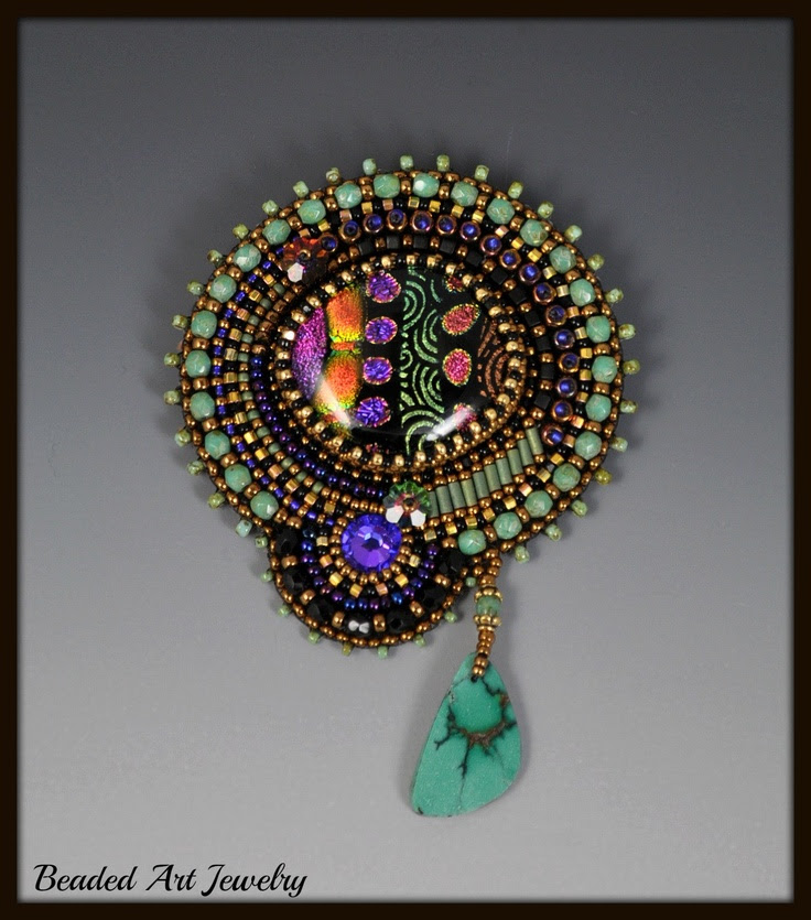 Bead Embroidered, Beadwork, Fused Dichroic Glass Brooch. by beadedartjewelry , via Etsy.