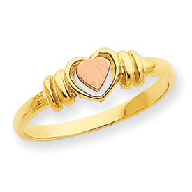 14kt Two Tone Gold Heart Ring