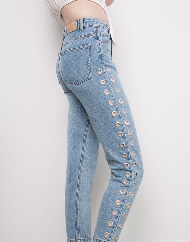 Pull&Bear - denim - jeans - jeans mom fit eyelets - azul clar - 05689301-V2016