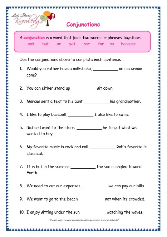 Grade 3 Grammar Topic 19 Conjunctions Worksheets Lets Share Knowledge