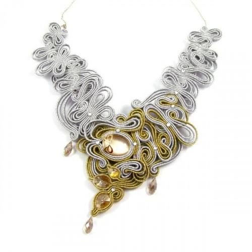Złoto srebrny naszyjnik ślubny sutasz