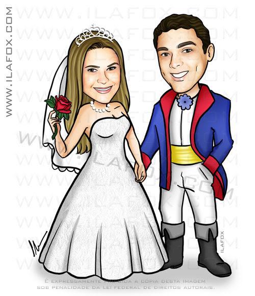 caricatura casal, caricatura noivinhos, caricatura pequeno príncipe, by ila fox