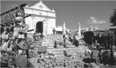A market set up in front of the church in Chichicastenango Guatemala