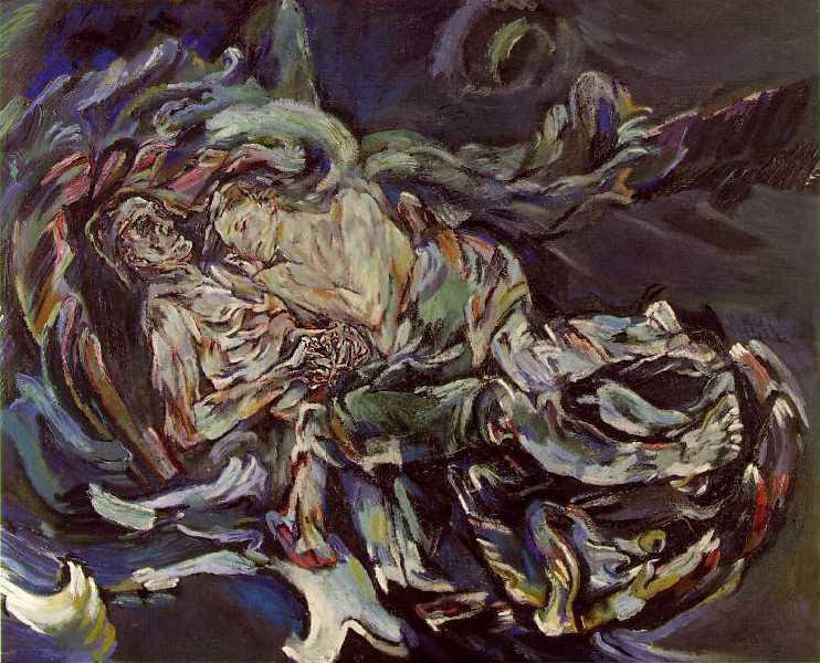 File:'Bride of the Wind', oil on canvas painting by Oskar Kokoschka, a self-portrait expressing his unrequited love for Alma Mahler (widow of composer Gustav Mahler), 1913.jpg
