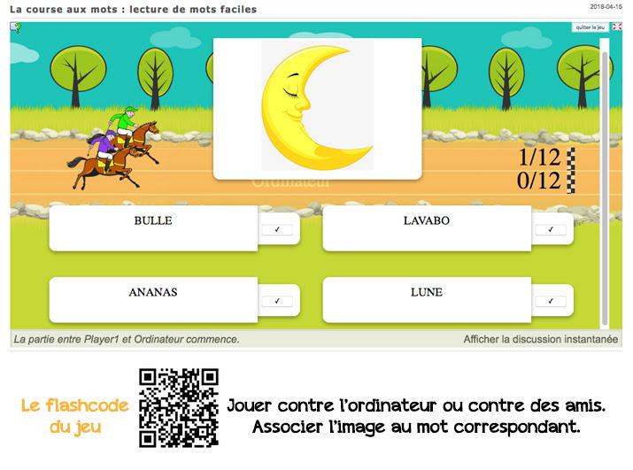 applis learning apps : lire des mots simples (course)