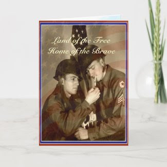 Vintage Veterans Day Land of the Free Card