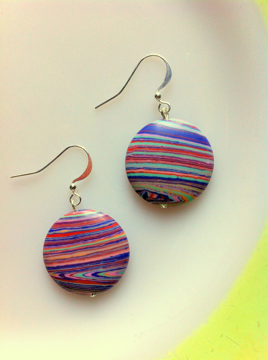 Multicolored Striped Earrings with Pink, Purple, Orange, and Green Hues, Silver-Plated Findings - Colorful - LassieJaneJewelry