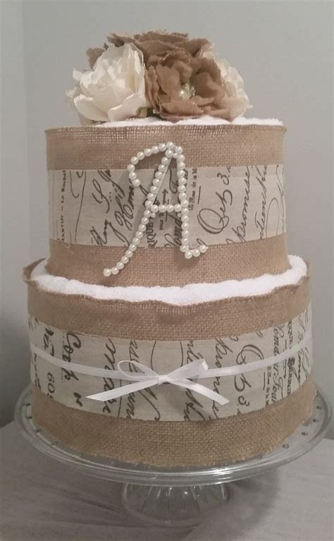 3 or 2 tier Burlap towel cake!A touch of rustic elegance