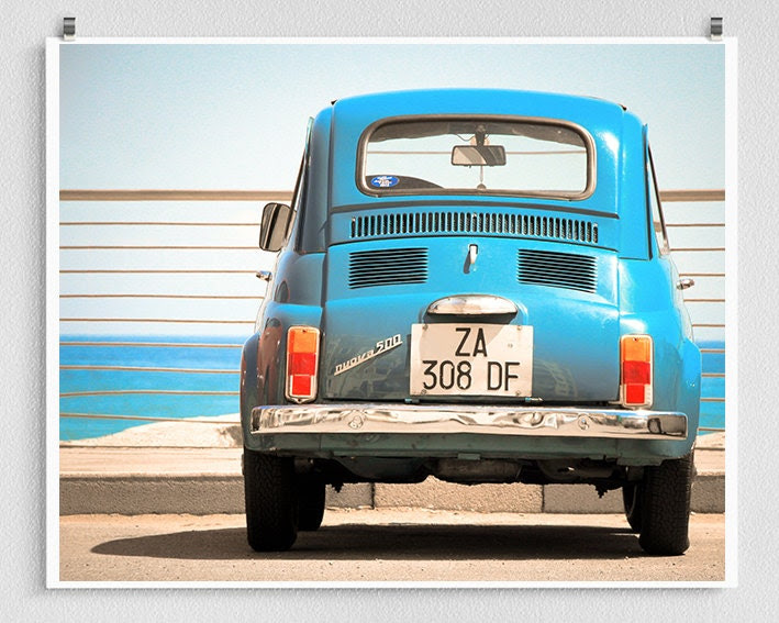 Italy photography - Fiat 500,Car,Italy photo,Turquoise,Fine art photography,Italy decor,8x10 wall art,sea,Fine art prints,Art Posters - coloron