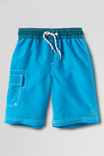 Boys' Solid Swim Trunks - Cyan, S