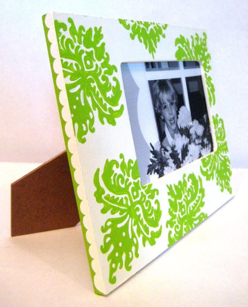 Hand Painted 4X6 Lime Green and White Damask Picture Frame