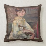 Young Woman with Cat Renoir Vintage Art Pillow throwpillow