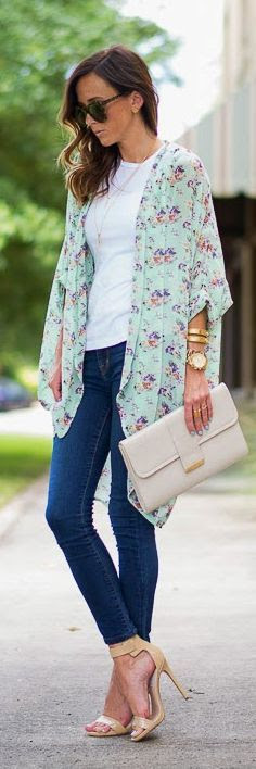 Windsor Mint Floral Print Chiffon Kimono by Sequins & Things