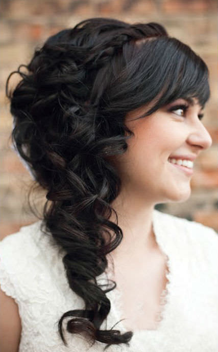 Cute And Modern Wedding Hairstyles Curly Side Bun In Women Hairstyle Style With Soft Curls Bird Cage Veil