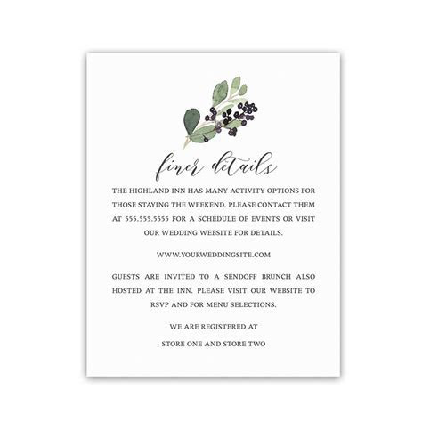 Guest Information Cards Wedding Information Insert Cards