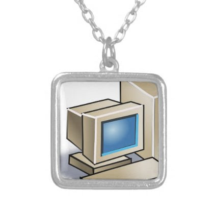 Retro Computer Silver Plated Necklace