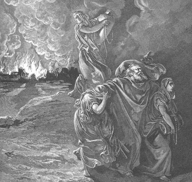 «Entonces la mujer de Lot miró atrás, a espaldas de él, y se volvió estatua de sal. Y subió Abraham por la mañana al lugar donde había estado delante de Yavhé. Y miró hacia Sodoma y Gomorra, y hacia toda la tierra de aquella llanura miró; y he aquí que el humo subía de la tierra como el humo de un horno». (Génesis 19, 26-28)