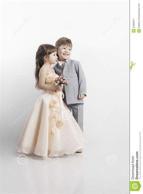 Portrait Of Two Beautiful Little Boy And Girl Stock Image