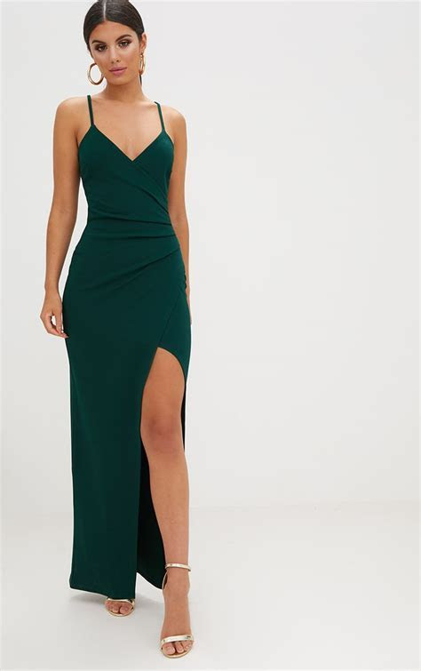 Emerald Green Wrap Front Crepe Maxi Dress. Dresses