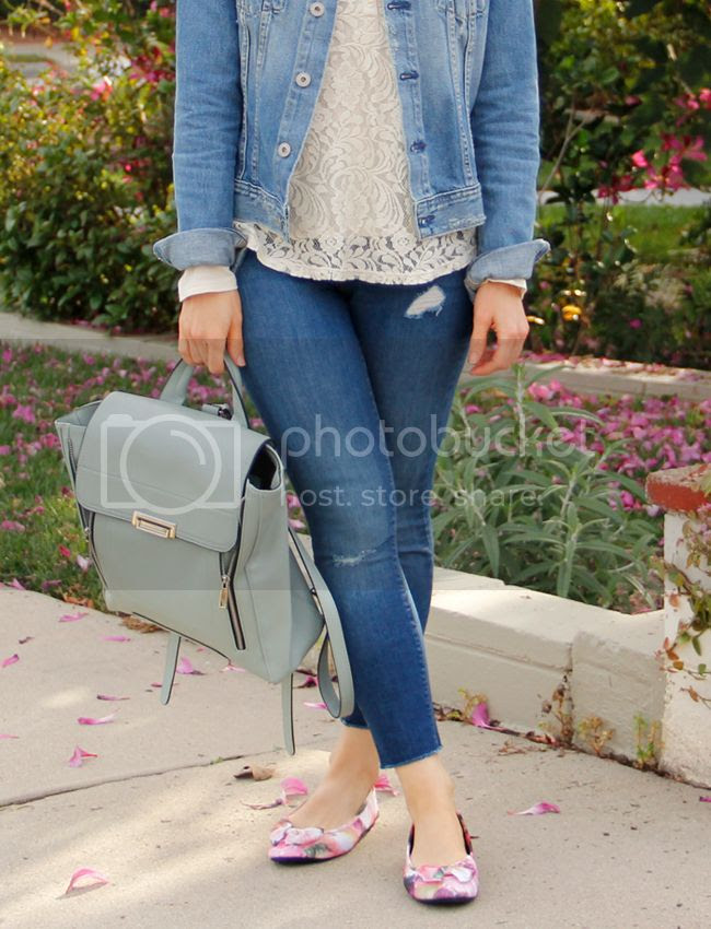 L.A. fashion blogger The Key To Chic wears an AG Jeans 'Robyn' denim jacket, Old Navy Rockstar denim, Sam & Libby floral Chelsea bow ballet flats, and a pastel green Phillip Lim inspired Mossimo backpack
