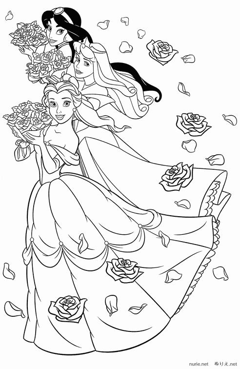 女の子のぬりえ お姫様たち ディズニーキャラクターのぬりえ塗り絵