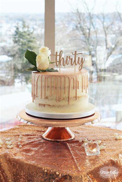 Rose Gold Semi Naked Drip Cake   Four Oaks Bakery