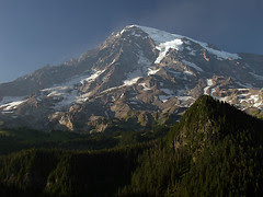 Hazy Mount Rainier at Ricksecker Point