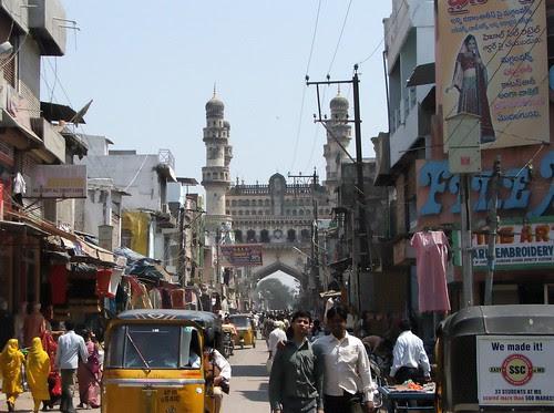 View of Charminar from inside Laad Bazaar, Hyderabad