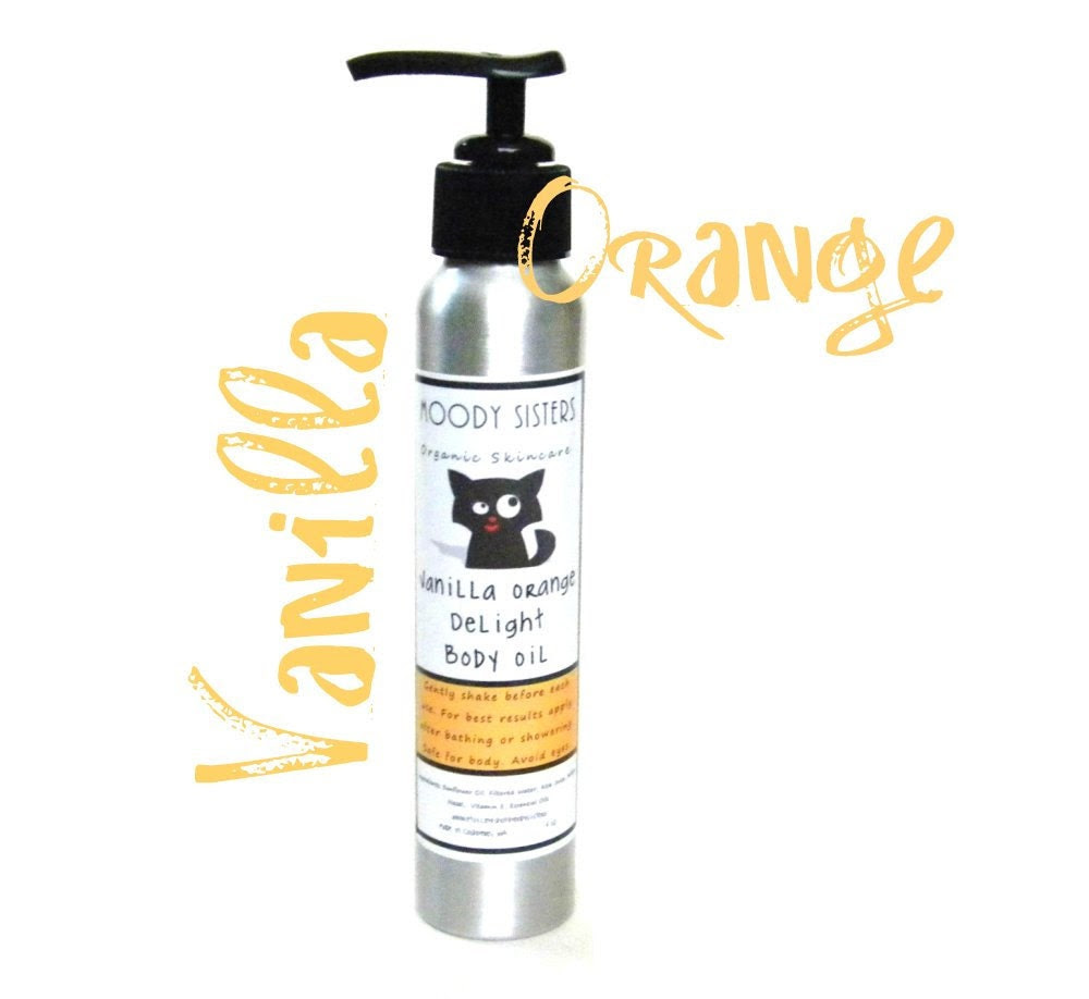 Vanilla Orange Body Oil-- 4 oz Oil Moisturizer with Vanilla, Grapefruit, Vanilla and Almond-- Organic & Vegan